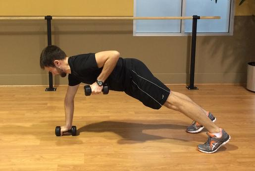 weighted dumbbell rolls